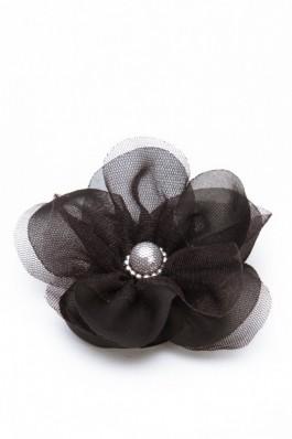 Brosa floare din voal Aristocat - negru, preturi, ieftine