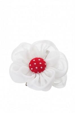 Z-AMN17 Agrafa cu floare alba - rosu, preturi, ieftine