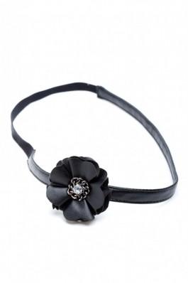 RS19-N Bandana cu floare din piele neagra - RS-Negru, preturi, ieftine