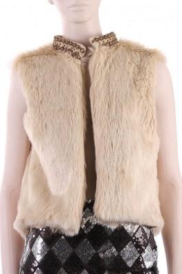 Vesta din blana ecologica, cu aplicatie la gat Nola Fashion, preturi, ieftine