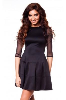 Rochie clos cu maneci din tulle - negru