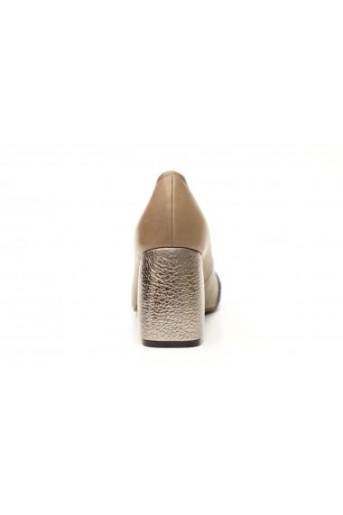 Pantofi cu toc bej-antracit perlat Thea Visconti P-416/18/613