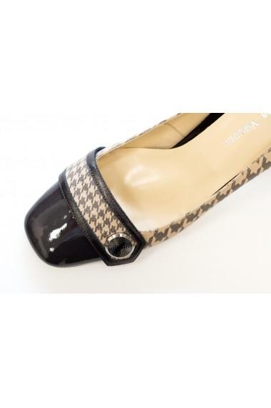 Pantofi cu toc gri lac si print Thea Visconti P-446/18/987