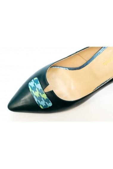 Pantofi cu toc din piele verde Thea Visconti P-417/18/613