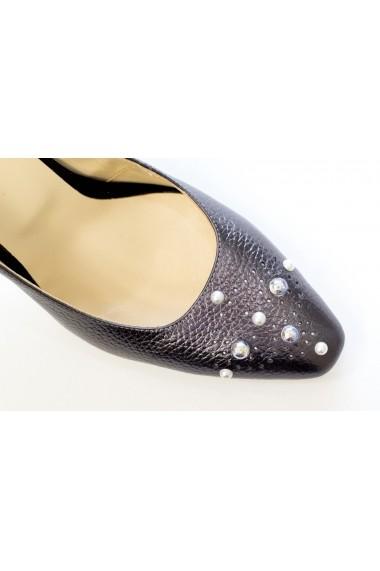 Pantofi cu toc office din piele cu aspect llaminat si perle Thea Visconti P-460/18/177
