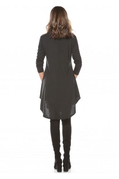 Rochie de zi neagra Roserry din jerseu cu guler