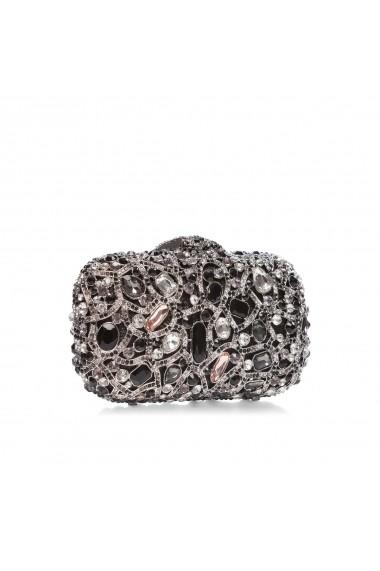 Clutch NISSA metalic cu pietre din sticla Negru