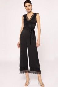 Salopeta NISSA culottes cu aplicatii de dantela Negru