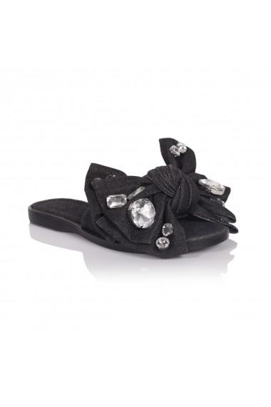 Papuci NISSA din denim cu funda si pietre aplicate Negru