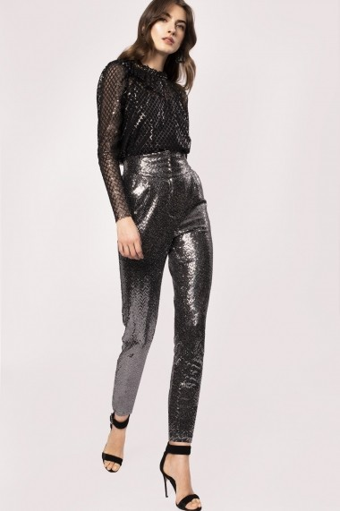Pantaloni drepti NISSA P11094 Argintiu