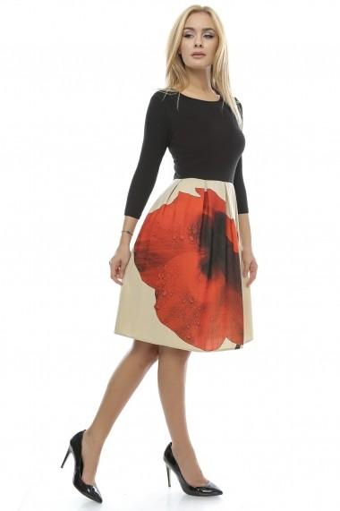 Rochie Crisstalus cu fusta plisata printata