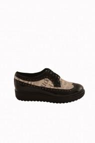 Pantofi Mopiel negru-ziar din piele naturala