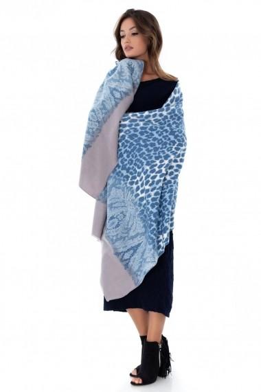 Esarfa Roh Boutique albastra, ROH, cu imprimeu - A0279 albastru|gri