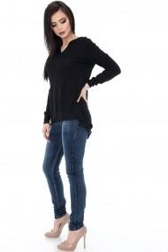 Bluza Roh Boutique neagra accesorizata cu voal - BR1358 negru