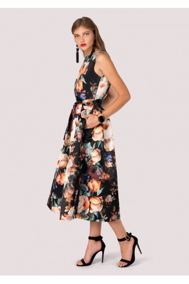 Rochie Roh Boutique florala, ROH, midi - DR3609 negru|multicolor