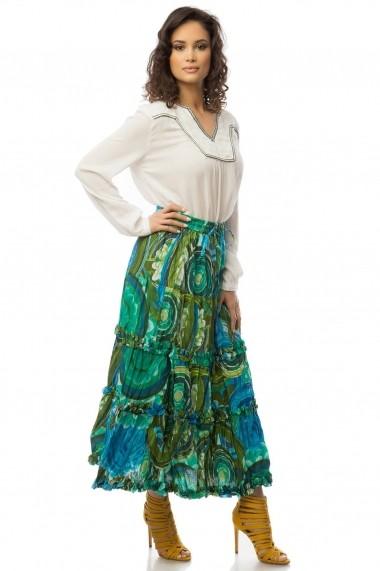 Fusta lunga Roh Boutique verde imprimata vesel - FR329 verde|multicolor