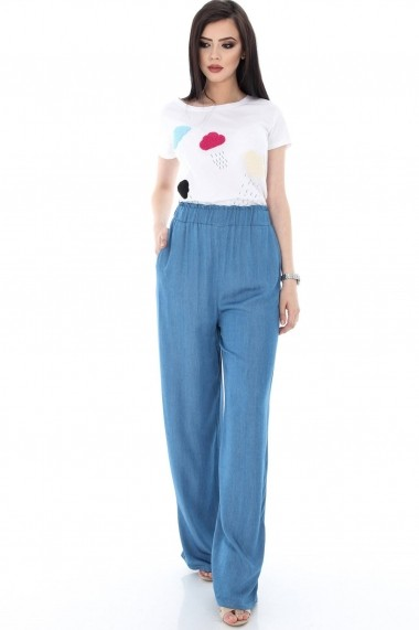 Pantaloni largi Roh Boutique denim din bumbac - TR175 denim