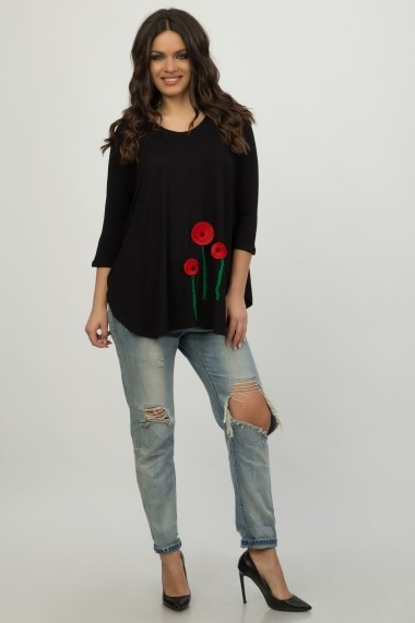 Bluza Colors by Mia Paris red poppies black