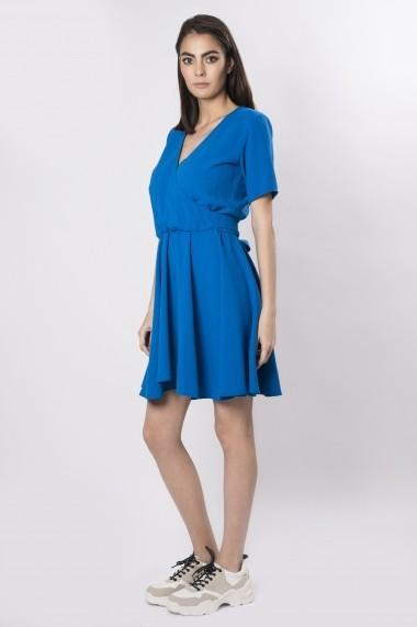 Rochie mini din bumbac cu decolteu in V albastra