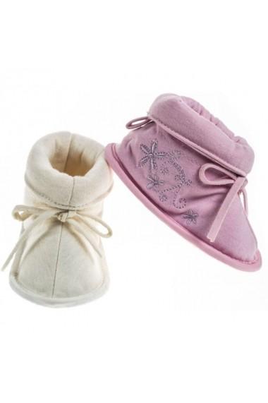 Botosei Soft Touch pentru bebelusi cu floricele brodate DKW1181-Crem