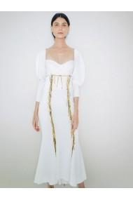 Sacou Marami Light Embroidered Dress Alb