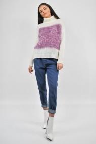 Pulover tricotat cu guler ELES & CO MDWS001 alb cu detalii roz