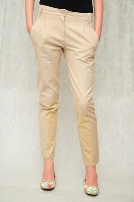 Pantaloni RVL Fashion crem cu pliuri, preturi, ieftine