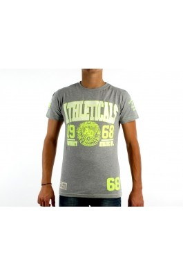 ATHLETICALS DENIM Man T-shirt - jfluo b-grey b grey yellow