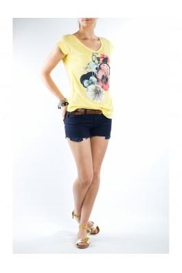 Tricou TinaR cu imprimeu cu flori, galben, preturi, ieftine