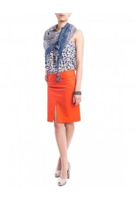 Fusta TinaR dreapta portocalie cu buzunare ascunse, preturi, ieftine