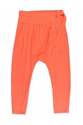 Pantaloni TinaR portocalii cu drapaje, din triplu voal, preturi, ieftine