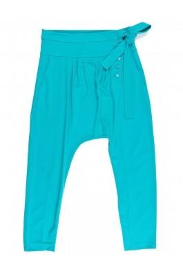 Pantaloni TinaR turcoaz cu drapaje, din triplu voal, preturi, ieftine