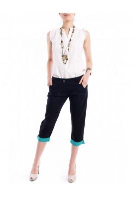 Pantaloni TinaR 3/4 negri cu manseta turcoaz in buline, preturi, ieftine