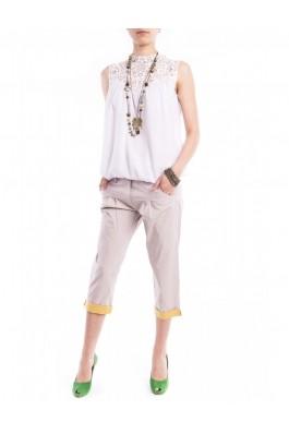 Pantaloni TinaR 3/4 bej cu manseta galbena in buline, preturi, ieftine