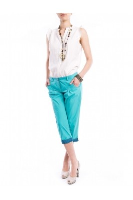 Pantaloni TinaR 3/4 turcoaz cu manseta albastra in buline, preturi, ieftine