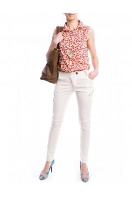 Pantaloni TinaR albi cu croiala skinny si fermoare aplicate lateral, preturi, ieftine
