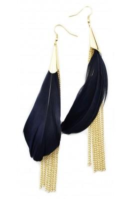 Cercei Meli Melo albastrii cu pene
