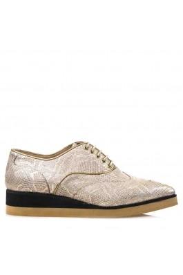 Pantofi pentru femei marca CONDUR by alexandru din presaj auriu, cu talpa groasa