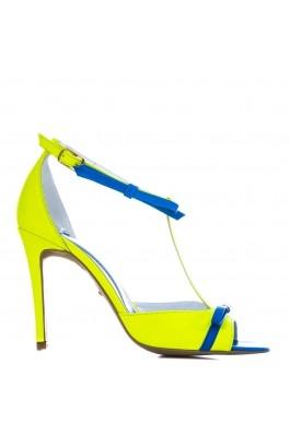 Sandale CONDUR by alexandru neon galben, din piele naturala