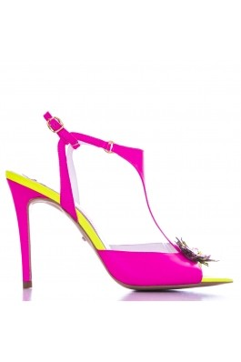 Sandale CONDUR by alexandru neon fuchsia, din piele naturala