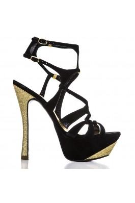 Sandale Condur By Alexandru Negre Din Camoscio Cu Toc De Glitter