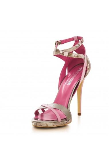 Sandale cu toc CONDUR by alexandru flori gri cu roz