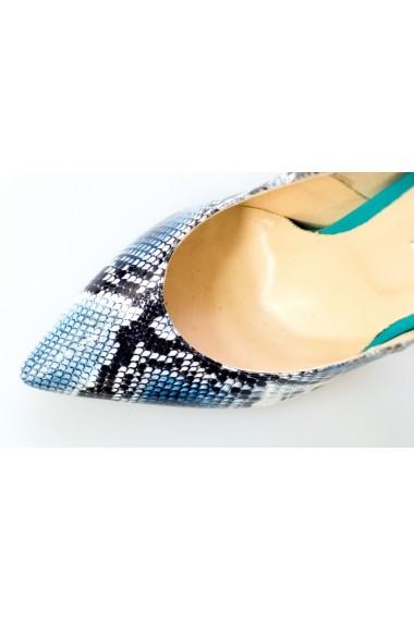 Pantofi-sandale Thea Visconti imitatie sarpe albastru si turquoise