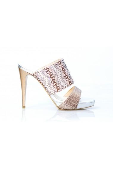 Sandale cu toc Thea Visconti 962 din argintiu perforat