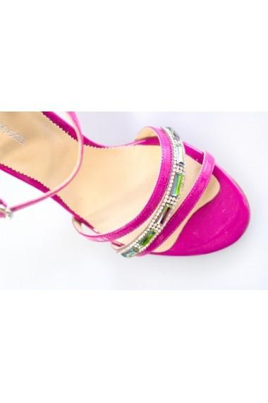 Sandale cu toc Thea Visconti 310 ciclamen cu strasuri