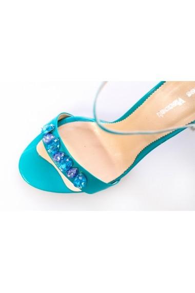Sandale Thea Visconti 310 turquoise cu pietre ornamentale