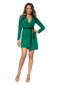 Rochie verde Roserry stil sacou din stofa cu cordon