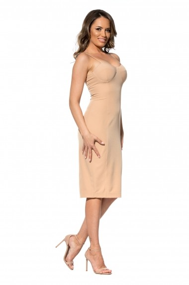Rochie creme Roserry midi cu bust corset din stofa