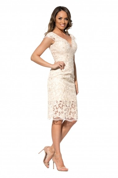 Rochie ivoire Roserry midi din broderie