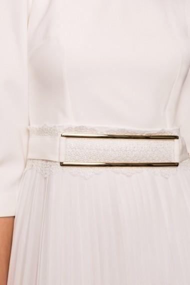 Rochie NISSA plisata cu detaliu auriu in talie Alb